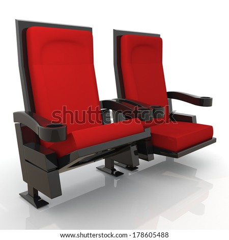 3d red theater seats in isolated background with clipping paths, work paths  - stock photo