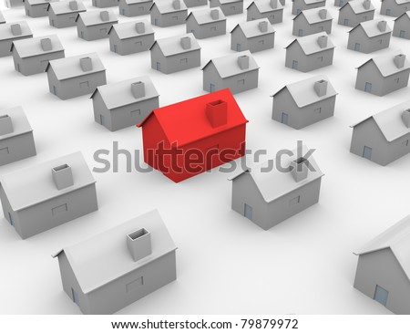 3d red unique house standing out from crowd.