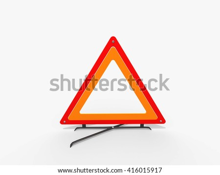 3D Red warning triangle. Caution Warning triangle. Attention sign. Road sign in High Resolution isolated on white.
