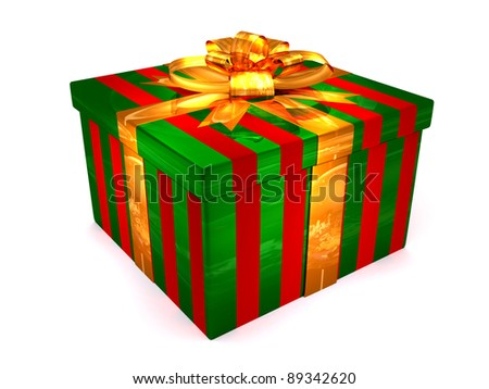 3D red with green Gift cristmas box on the white - stock photo