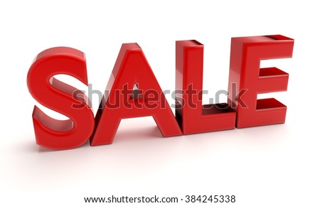3d red word Sale isolated on white background - stock photo