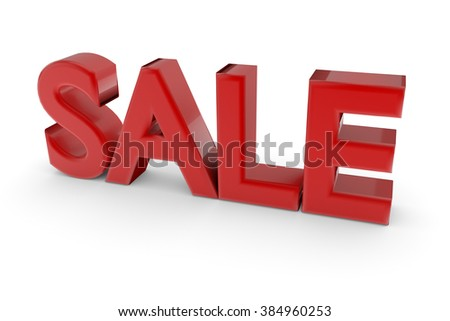 3d red word Sale isolated on white background