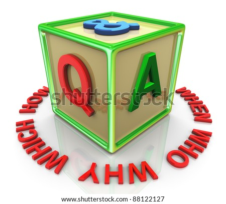 3d reflective colorful question and answer cube with encircle question words - stock photo