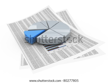 3d reflective pie chart on the financial paper - stock photo