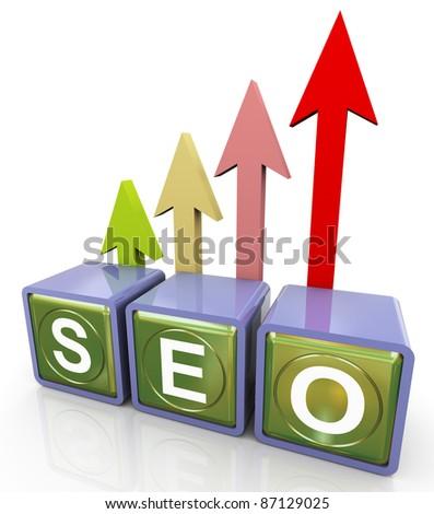 3d reflective seo (search engine optimization ) text box with progress arrow - stock photo