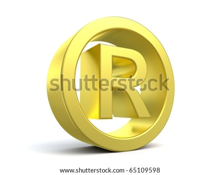 3d registered name sign from my golden collection - stock photo