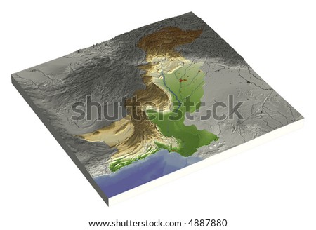 3D relief map of Pakistan, line of sight towards north-east. Shows major cities and rivers, surrounding territory greyed out. Colored according to height. Contains path to mask out the background. - stock photo