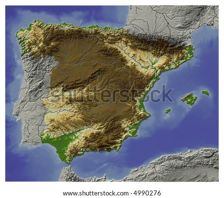 3D Relief Map of Spain.  Shows major cities and rivers, surrounding territory greyed out.  Colored according to terrain height. Contains path to mask out the background.
