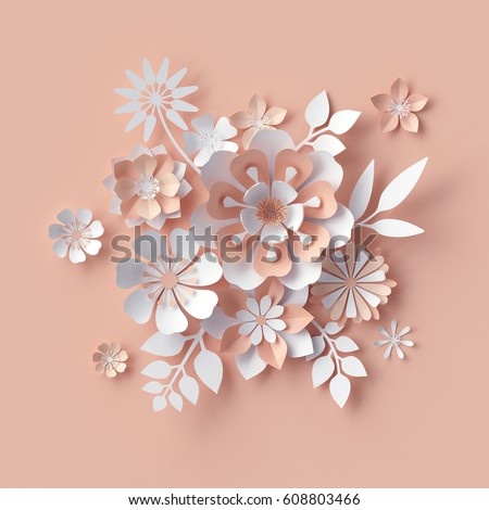 3 d render abstract paper flowers decorative stock illustration 3d render abstract paper flowers decorative peach floral background greeting card template mightylinksfo