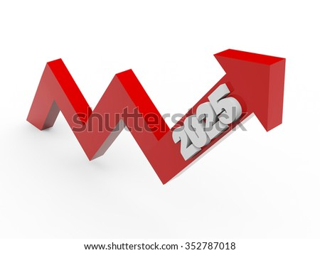 3d render arrow year 2025 growth on a white background.