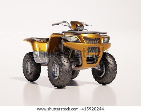 3d render: ATV quad bike, studio shooting, soft lighting - stock photo