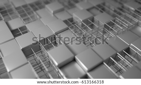 3d render background Cubes filling space pattern