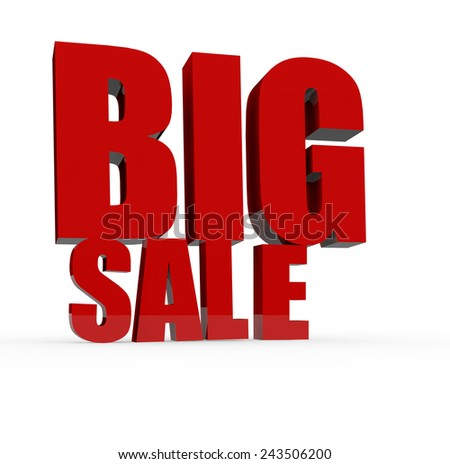 3d render big sale concept with Big Sale word on a white background.  - stock photo