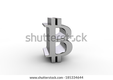 3D render bitcoin currency symbol, isolated on white background - stock photo