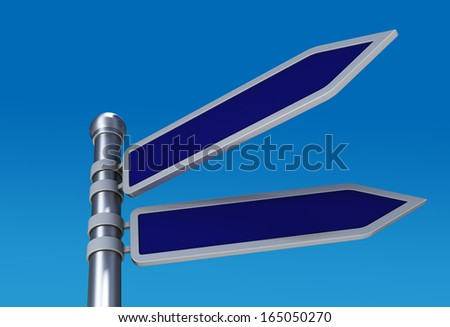 3d render blank directional road signs in sky - stock photo