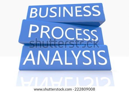 3d render blue box with text Business Process Analysis on it on white background with reflection - stock photo