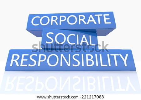 3d render blue box with text Corporate Social Responsibility on it on white background with reflection - stock photo