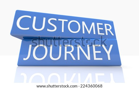 3d render blue box with text Customer Journey on it on white background with reflection - stock photo