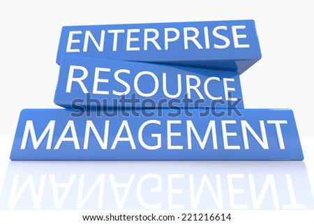 3d render blue box with text Enterprise Resource Management on it on white background with reflection