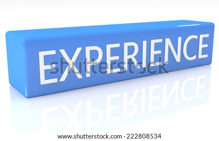 3d render blue box with text Experience on it on white background with reflection - stock photo
