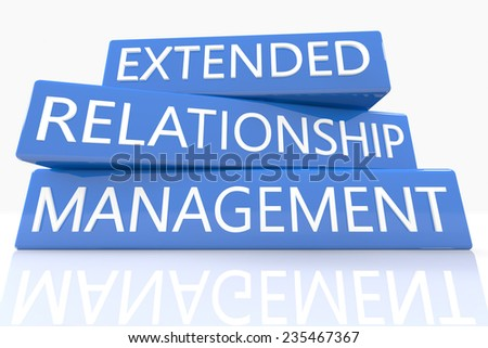 3d render blue box with text Extended Relationship Management on it on white background with reflection