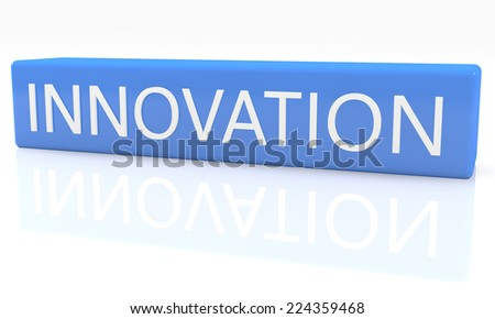 3d render blue box with text Innovation on it on white background with reflection - stock photo