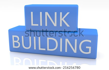 3d render blue box with text Linkbuilding on it on white background with reflection - stock photo