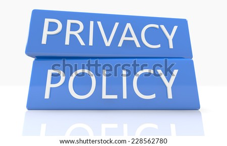 3d render blue box with text Privacy Policy on it on white background with reflection - stock photo