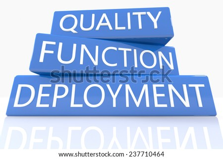 3d render blue box with text Quality Function Deployment on it on white background with reflection - stock photo