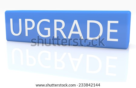 3d render blue box with text Upgrade on it on white background with reflection - stock photo