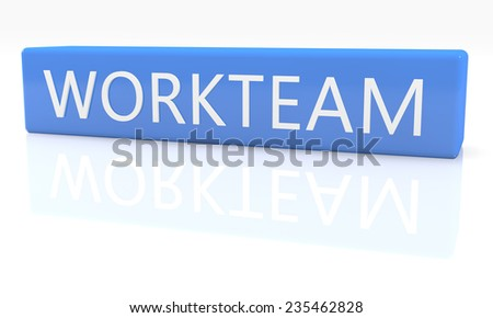 3d render blue box with text Workteam on it on white background with reflection