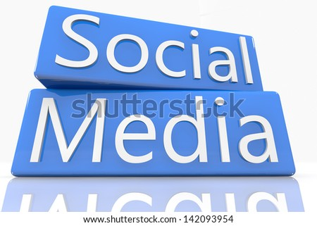 3D render blue boxes with text social media - stock photo