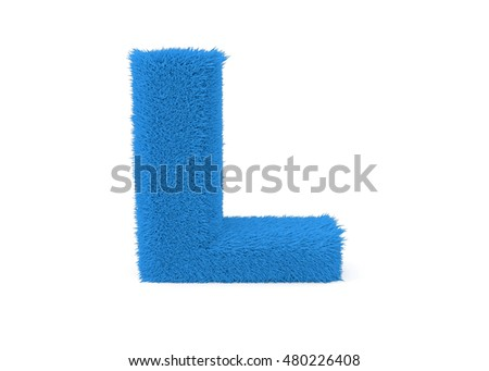 3d render blue furry letter L on a white background.