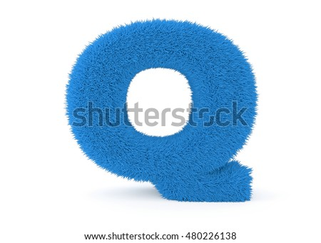 3d render blue furry letter Q on a white background.