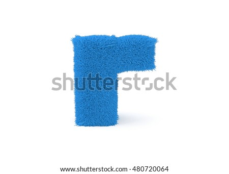 3d render blue furry lowercase letter R on a white background.