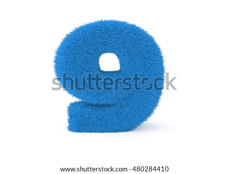 3d render blue furry number 9 on a white background.