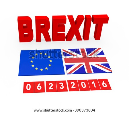 3d render Brexit concept with European Union flag and the Great Britain flag and the date of the referendum on a white background.  - stock photo