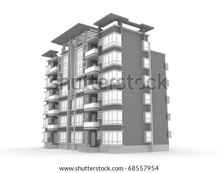 3D render building - stock photo