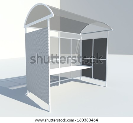 3d render bus stop with shadow - stock photo