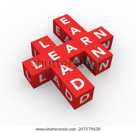 3d render business concept Learn, Lead, Earn with eleven red cubes on a white background.  - stock photo