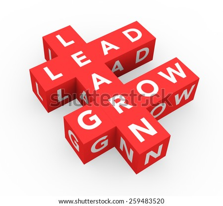 3d render business concept Learn, Lead, Grow with eleven red cubes on a white background.  - stock photo