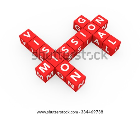 3d render business concept Vision Mission Goal with fifteen crossword red cubes on a white background.  - stock photo