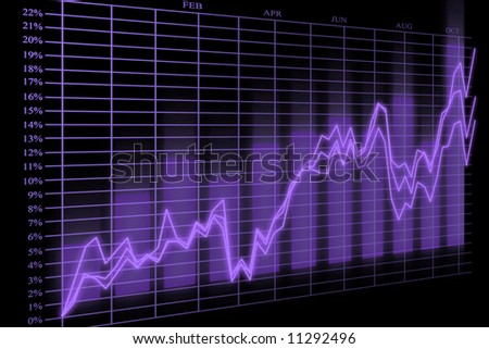 3d Render Business Graph With Bars And Arrows - stock photo