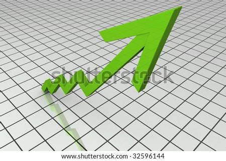 3D Render Business Graph  With Upward Arrow - stock photo