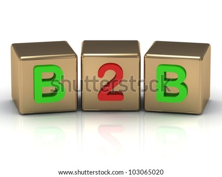 3D render Business to Business B2B on gold cubes - stock photo