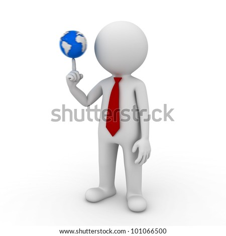 3d render businessman spinning the small world on his finger isolated on white background - stock photo