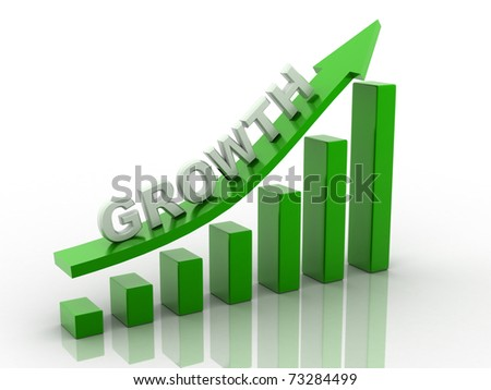 3d render bussiness graph with going up arrow - stock photo