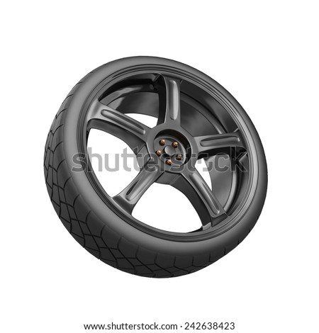3d render car wheel isolated on white
