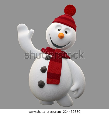 3d render character, cheerful white snowman with Santa hat and scarf, cartoon ilustration isolated on white background, cute snow man with hands and legs, Christmas cards, decorations, winter mascot - stock photo
