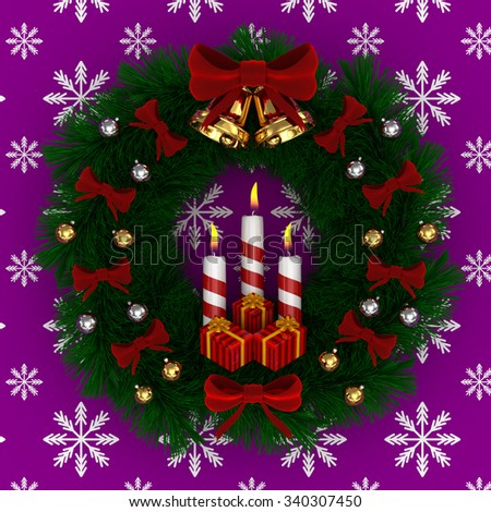 3D Render: Christmas wreath with red bow, Burning candles, jingle bells and gifts isolated on purple-snow background - stock photo